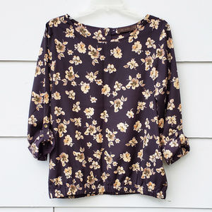 The Limited Midnight Blue Floral Top - M